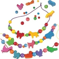 HABA Animal Threading Beads, my little green shop, vancouver, bc, canada, safe, gift, boy, girl, toy beads, kids store, online store, non-toxic, wooden beads, bead strands, threading beads, animal beads, safe, wooden, beads, childrens, toddlers, Germany