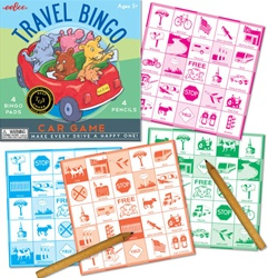Eeboo Travel Bingo Game, toy store, kid store, fun, eco-friendly toy, vancouver, bc, downtown vancouver, online store, kids games, safe, educational toys, preschool games, BC, bingo game, Canada, Eeboo, travel games, 5 years+, travel bingo, car games