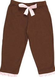 Sama Baby, cocoa pants, brown pants, ruffles, 100% organic cotton, cute, comfortable, stylish, made in India, sweet, my little green shop, vancouver, bc, canada, soft, cotton baby pants, baby shower gift, downtown Vancouver, online, baby clothes