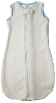 hot sale online cce95 a0e3b Swaddle Designs Organic zzZipMe Sack - Fleece with Pastel Blue Trim