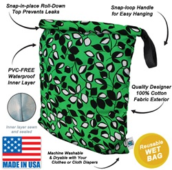 "Planet Wise Large Roll Down 17.5"" x 22"" Wet Bags,Wet Bags, my little green shop, vancouver, bc, machine washable, Planet Wise