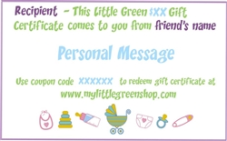 My Little Green Gift Certificate, my little green shop, vancouver, bc, canada, sustainable, gift certificate, earth friendly, baby, kids, gift, modern, mail, gift certificates, any denomination, gift card, baby store, online store, kids store, downtown,