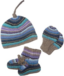 Las Gringas Newborn Blue Tuque, Mitts and Bootie Set, gift, newborn, baby, shower gift, boy, girl, my little green shop, vancouver, bc, canada, infant, online, eco-friendly, alpaca wool, baby store, kids store, gift set, hats booties, mitts,