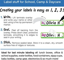 Emily Press Write Your Own Labels 24-Pack, name labels, my little green shop, vancouver, bc, BPA free, no phthalates, PVC-free, name tags, downtown Vancouver, Vancouver, lunch box labels, reusable, Canada, Emily Press, online store, online, sticker labels