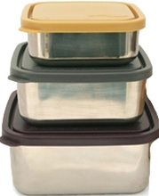 Kids Konserve, Square, Leak-Proof, Nesting Trio (Set of 3), my little green shop, vancouver, eco-friendly, online, stainless steel, lunch, downtown vancouver, bc, canada, BPA-free, safe, non-toxic, BPA free, litterless lunch, containers, snack containers,
