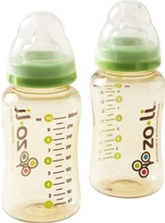 ZoLi Anti-Colic 10 oz bottles, my little green shop, vancouver, eco-friendly, zoli. online store, baby store, 6 ounce, stylish, fun, downtown vancouver, mealtime, food, bc, canada, BPA-free, safe, non-toxic, BPA & Phthalate free,  toddler, baby bottles