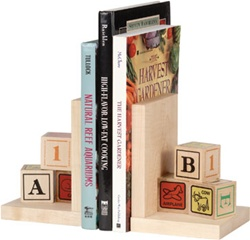 Maple Landmark Alphabet Book Ends, eco-friendly, my little green shop, vancouver, bc, canada, online store, baby store, downtown vancouver, kids furniture, kids decor, safe, furniture, kids, non-toxic, safe, nursery, book ends, online, Maple Landmark