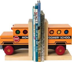 Maple Landmark School Bus Book Ends, eco-friendly, my little green shop, vancouver, bc, canada, online store, store, downtown vancouver, kids furniture, kids decor, safe, wood, kids, non-toxic, safe, nursery, book ends, online, Maple Landmark, wooden