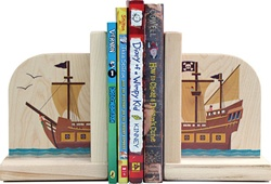 Maple Landmark Pirate Ship Book Ends, eco-friendly, my little green shop, vancouver, bc, canada, online store, baby store, downtown vancouver, kids furniture, kids decor, safe, furniture, kids, non-toxic, safe, nursery, book ends, online, Maple Landmark