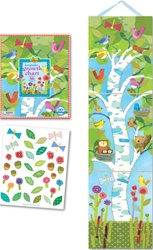 Eeboo Birds in a Birch Growth Chart, baby gift, shower gift, newborn,  my little green shop, vancouver, bc canada, growth chart, fun, colourful, eco-friendly, keepsake box, sturdy, laminated growth chart, downtown vancouver, baby store, kids store, gift