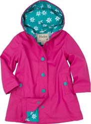 Hatley Fuchsia Daisies Splash Jacket, rainwear, safe, eco-friendly, PVC-free,my little green shop, Vancouver, bc, canada, Phthalate free, raincoat, water proof, cute, girls, raincoat, kids store, online store, downtown vancouver, child's raincoats, Hatley