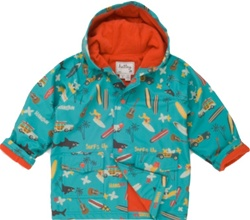 Hatley Surf's Up Raincoat, rainwear, safe, eco-friendly, PVC-free, my little green shop, Vancouver, bc, canada, Phthalate free,  raincoat, water proof, cute, youth, kids store, online store, downtown vancouver, childs rain jacket, kids, boys, girls, child