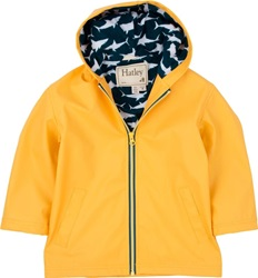 Hatley Yellow Great White Sharks Splash Jacket, rainwear, safe, eco-friendly, PVC-free, my little green shop, Vancouver, BC, Canada, Phthalate free, raincoat, water proof, Hatley, kids store, online store, downtown vancouver, childs rain jacket, kids, boy