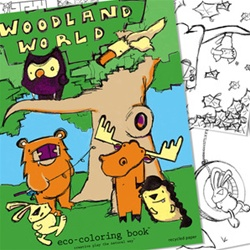 Eco-Kids Woodland World Colouring Book, my little green shop, vancouver, downtown vancouver, craft store, eco-friendly, online store, art books, sketch books, eeboo, online, BC, Canada, Vancouver, colouring book, kids, colouring, nature themes