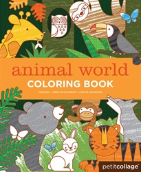 Petit Collage Animal World Colouring Book, my little green shop, vancouver, downtown vancouver, toddlers, eco-friendly, online store, colouring book, online, BC, Canada, Vancouver, animals, kids art books, pre-schoolers, West End, Yaletown