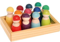 Grimm's 12 Rainbow Friends in Wooden Frame, my little green shop, vancouver, bc, canada, safe, wooden toys, kids store, online store, non-toxic, wood toys, toddlers,downtown Vancouver, online, eco-friendly, heirloom toys, Grimm's, wooden dolls, Yaletown