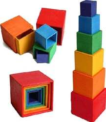 Grimm's Large Rainbow Stacking Boxes, my little green shop, vancouver, bc, canada, safe, gift, wooden toys, kids store, online store, non-toxic, wood toys,downtown Vancouver, online, eco-friendly, heirloom, wooden, wood, stacking blocks, Grimm's