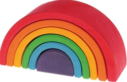 Grimm's Medium Rainbow Stacker, my little green shop, vancouver, bc, canada, safe, gift, toys, kids store, online store, non-toxic, wooden, rainbow stacker,small,downtown Vancouver, online, eco-friendly, wooden toys, Grimm's, wooden, toy,wood stacker