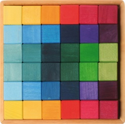 Grimm's Building Set Squares with 36 Pieces, my little green shop, vancouver, bc, canada, safe, gift, wooden toys, kids store, online store, non-toxic, wood toys, toddlers,downtown Vancouver, online, eco-friendly, heirloom toys, Grimm's, wooden blocks