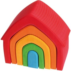 Grimm's Multi Coloured House, my little green shop, vancouver, bc, canada, safe, toys, kids store, online store, non-toxic, wood, toddlers,downtown Vancouver, online, eco-friendly, stacking toy, Grimm's,wooden, wooden stacking house, Yaletown, West End