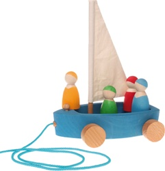 Grimm's Large Land Yacht Pull Toy with 4 Sailors, my little green shop, vancouver, bc, canada, safe, gift, wooden toys, kids store, online store, non-toxic, wood toys, toddlers,downtown Vancouver, online, eco-friendly, heirloom toys, Grimm's, pull toy
