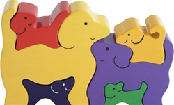 ImagiPlay Dog Family Puzzle, my little green shop, vancouver, bc, canada, safe, gift, wooden toys, kids store, online,kids, store, non-toxic, wooden puzzle, ImagiPlay, wooden dogs,toddlers,downtown Vancouver, Yaletown, West End, puzzles, preschooler,