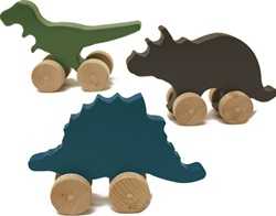 Manny and Simon Mini Dino Set, my little green shop, vancouver, bc, canada, safe, gift, wooden toys, kids store, online store, non-toxic, wooden push toys, safe, made in the USA, Manny and Simon, wooden dinos, dinosaurs, toddlers,downtown Vancouver