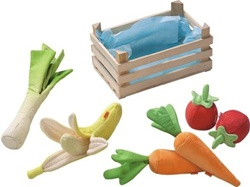 Haba Biofino Vegetable Basket, my little green shop, vancouver, bc, canada, safe, play food, colourful, kids store, online store, non-toxic, felt vegetables, play vegetables, toy food, toddlers, downtown Vancouver, toy store, HABA, wooden basket, toys