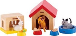 Hape Family Pets, toy store, kids store, gift,  toddler, imaginative, fun, eco-friendly, wooden pets, eco-friendly toy, vancouver, bc, downtown vancouver, online, kids online store, safe, toys, Hape, preschoolers, dollhouse, family, doll house pets, wood