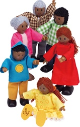 Hape Happy Family African American , toy store, kids store, gift,  toddler, imaginative, fun, eco-friendly, doll family, eco-friendly, vancouver, bc, downtown vancouver, online, kids online store, safe, toys, Hape, preschoolers, dollhouse, family, black