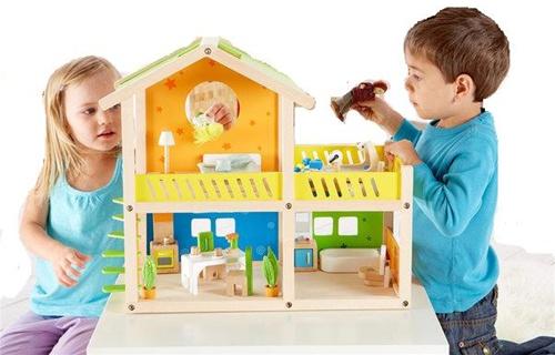 Hape Happy Villa Dollhouse My Little Green Shop Gift Unique Fun