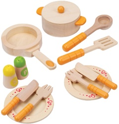 Hape Gourmet Kitchen Starter Set, toy store, kid store, gift,  toddler, imaginative, fun, eco-friendly, sustainable, eco-friendly, vancouver, bc, downtown vancouver, online, kids online store, safe, play dishes, Educo, preschoolers, play kitchen, canada,