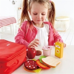 Hape Lunchbox Set, toy store, kid store, gift, toddler, wooden, food, fun, eco-friendly, canada, vancouver, bc, downtown vancouver,online, BC, Canada, safe, educational, quality,preschoolers, lunch box, role play, lunch box set, play food, hape, wood food