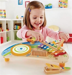 Hape Mighty Mini Band, kid store, gift,  toddler, imaginative, fun, eco-friendly, musical instruments, vancouver, bc, downtown vancouver, online, kids online store, safe, toddlers, hape, music toy, baby, rhythm, teaching music, music instrument, baby,