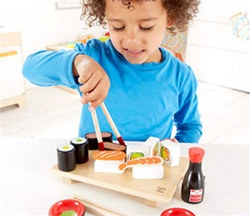 Hape Sushi Set, toy store, kid store, gift,  toddler, imaginative, fun, eco-friendly, canada, vancouver, bc, downtown vancouver, online, kids online store, safe, educational, preschoolers, play kitchen, role play, sushi set, play food, hape, wooden food