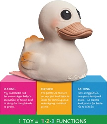 Hevea Kawan Natural Rubber Teether, natural rubber, Hevea, Hevea Baby, rubber duck, teether, teething toy, pain relief, infant, baby, safe, bath toy, my little green shop, Vancouver, BC, Canada, downtown Vancouver, online, online store, baby store,