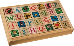 Maple Landmark ABC Blocks in Tray, downtown Vancouver, my little green shop, vancouver, bc, canada, safe, gift, boy, girl, building blocks, classic wooden blocks, colourful, kids store, online store, non-toxic, ABC Blocks, wooden blocks, blocks in a tray