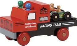 Maple Landmark Classic Racing Team Truck, wooden toys, my little green shop, vancouver, bc, canada, safe, gift, boy, girl, classic wooden toys, colourful, kids store, online store, non-toxic, wood, wooden, Maple Landmark, race car, made in USA,