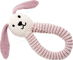 Pebble Organic Crocheted Bunny Rattles, baby store, kids store, cotton rattle, organic cotton, eco-friendly, dolls, eco-friendly toy, vancouver, bc, downtown vancouver, online, kids online store, safe, Pebble, organic, organic, baby, gift, newborn