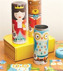 Petit Collage Canister 64 piece puzzle,Vancouver, my little green shop, BC, Canada, downtown Vancouver, petit collage,money bank puzzle, tin, kids store, online store, games, downtown, kids store, educational, eco-friendly, toddler, preschool, owl, castle