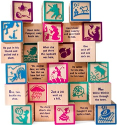Uncle Goose Nursery Rhyme 9 Block Set, stacking blocks, my little green shop, vancouver, bc, canada, safe, gift, boy, girl, building blocks, classic wooden blocks, colourful, kids store, online store, non-toxic, nursery ryhmes, ABC Blocks, wooden blocks